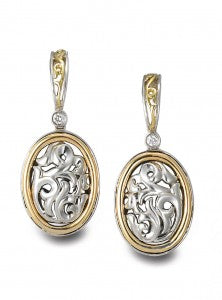 Charles Krypell Dangle Scroll Earrings featuring Sterling Silver and 18K Yellow Gold