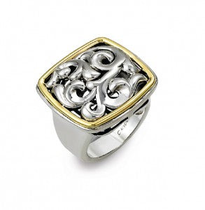 Charles Krypell Scroll Ring featuring Sterling Silver and 18K Yellow Gold