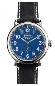 Shinola Leather Strap Watch with Royal Blue Dial