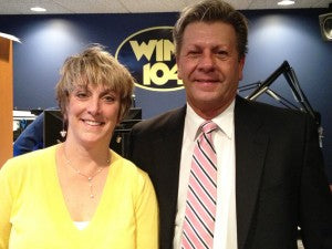 Sue Campbell and Terry at the WINK 104 studio!