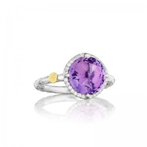 TACORI Lilac Blossoms Amethyst Center Stone Ring nestled within a bed of Diamonds. Available in our Colonial Park store.