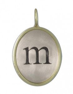 Heather B Moore Charm Oval SZ-6 Charm in Sterling Silver with Green Gold Frame