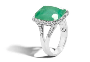 John Hardy Classic emerald and diamond ring.