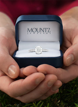 A diamond ring in a box from Mountz Jewelers
