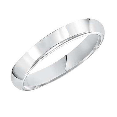 Goldman 3MM Women's Plain Oval Wedding Band in 14K White Gold