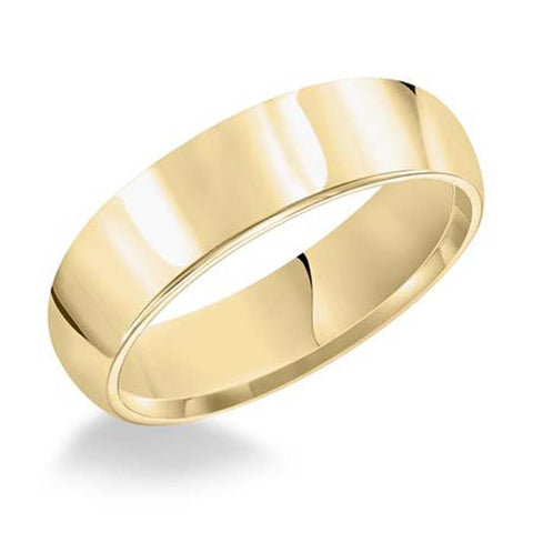 Goldman 5MM Men's Plain Oval Wedding Band 14K Yellow Gold