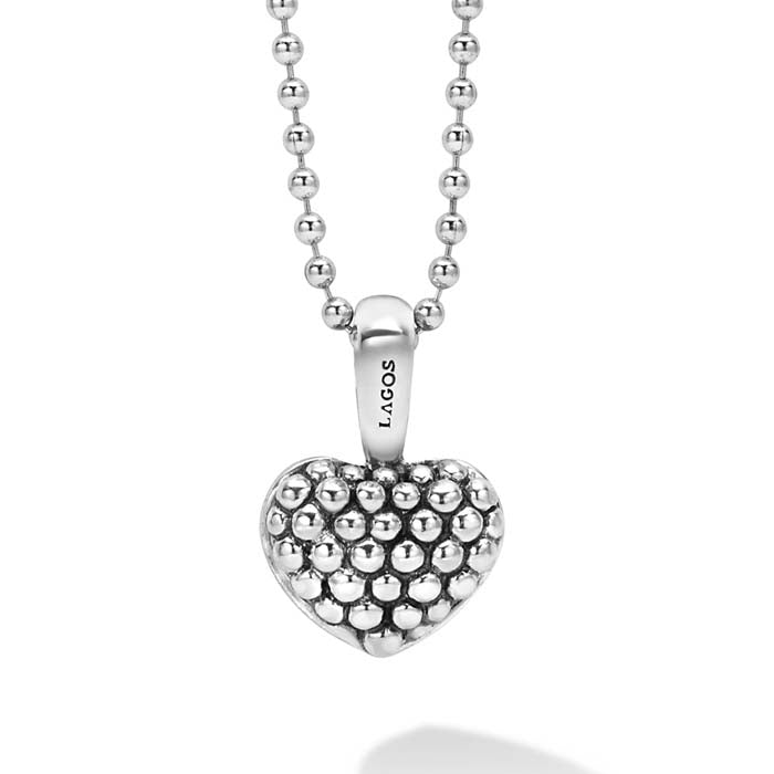 "LAGOS 34"" Beaded Heart Signature Caviar Pendant in Sterling Silver"