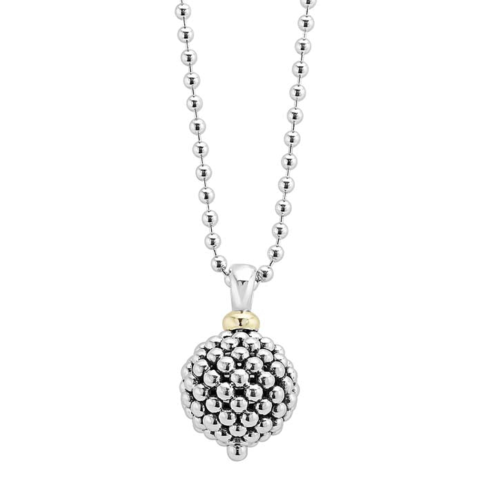 "LAGOS 34"" Ball Signature Caviar Pendant in 18K Yellow Gold and Sterling Silver"