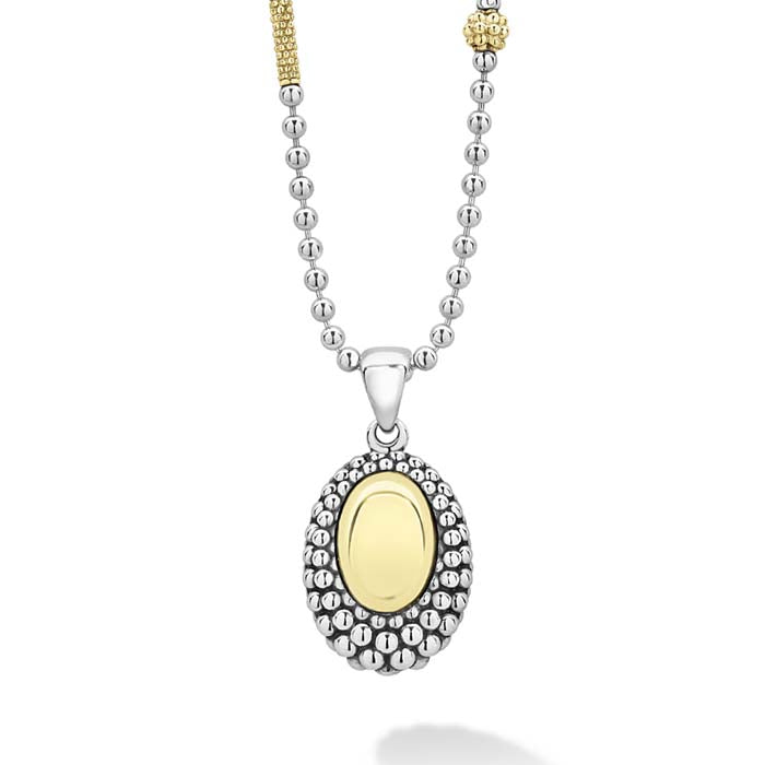 LAGOS Oval Smooth Dome High Bar Pendant in 18K Yellow Gold and sterling Silver