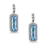 "Charles Krypell ""Eve Collection"" Blue Topaz Drop Earrings with .65CTW Diamonds in Sterling Silver"