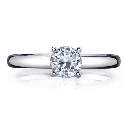"Mountz Collection ""Small Smart Solitaire"" in 14K White Gold"