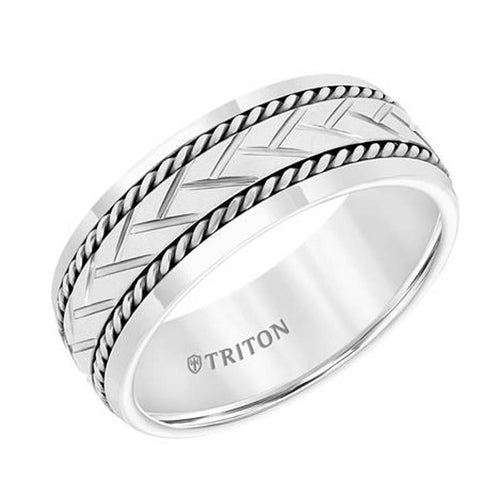 Triton Men's 8MM Comfort-Fit White Tungsten Carbide and Sterling Silver Wedding Band