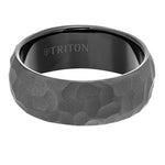 Triton Mens Black Tungsten Carbide Ring with Hammered Finish