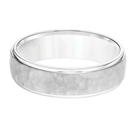 Goldman 6MM Men's Platinum Wedding Band with Hammered Center and Polished Edge