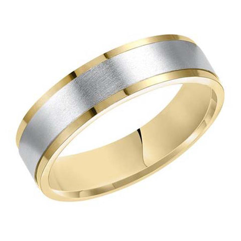 Goldman Men's 6MM Wedding Band Flat 14K Yellow Gold with Brushed 14K White Gold Center