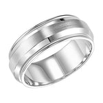 Goldman Men's 8MM Wedding Band with Satin Finish, Polished Edge and Milgrain Detail in 14K White Gold