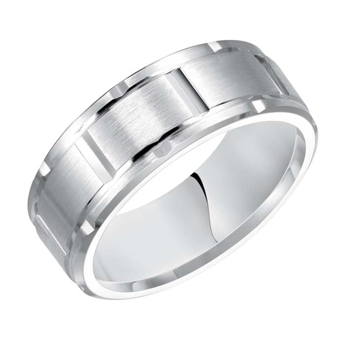 Goldman Men's 8MM Wedding Band Satin Center with Polished Grooved Brick Pattern 14K White Gold