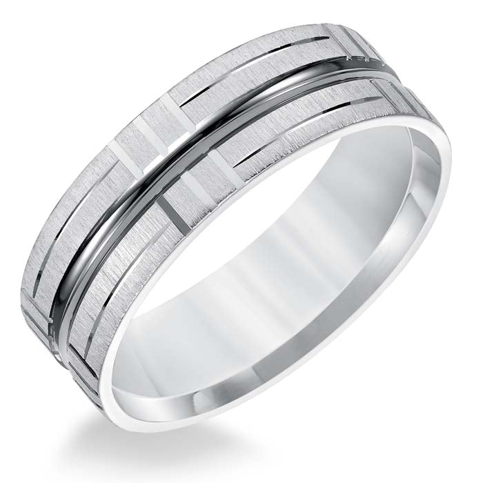 Goldman Men's 7MM Wedding Band with Wire Finish and Bright Cut Accents in 14K White Gold
