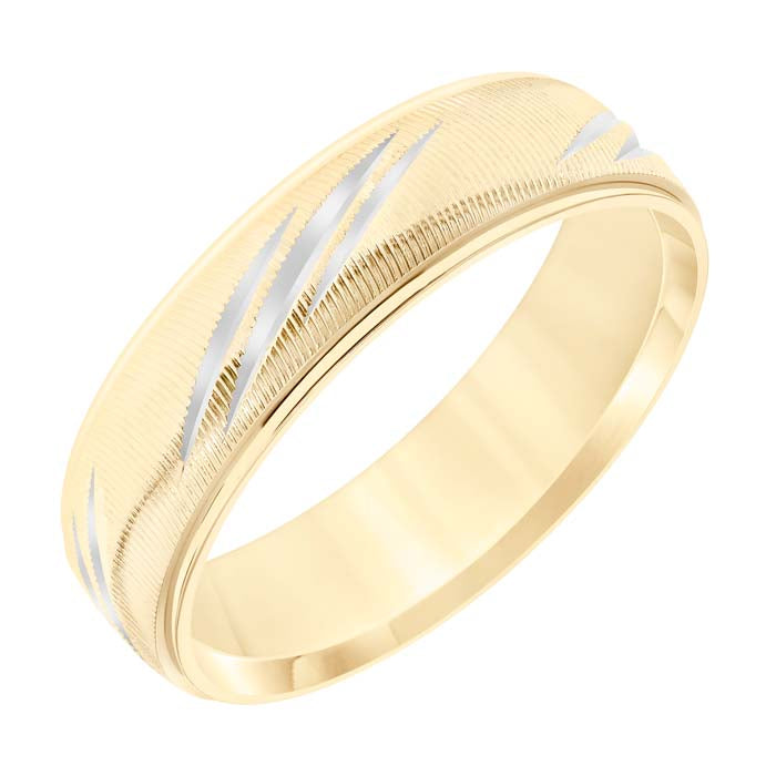 Goldman Men's 6MM Wedding Band in 14K Yellow Gold with White Rhodium Accents