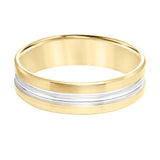 Goldman Men's 6MM 14K Yellow Gold Wedding Band with 14K White Gold Polished Center