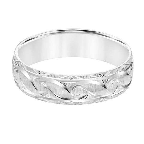 Goldman Men's 6MM Wedding Band with Brushed Finish and Design in 14K White Gold