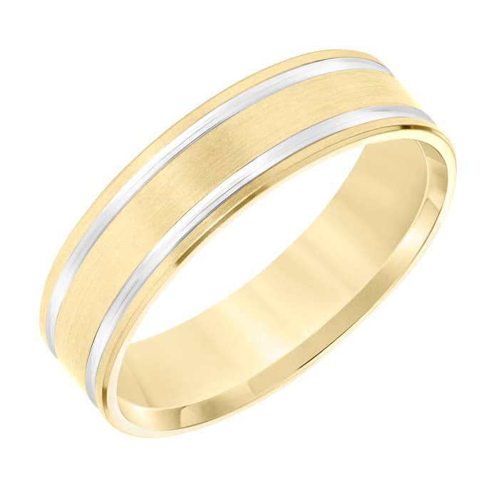 Goldman Men's 6MM Wedding Band in 14K Yellow Gold with Brushed Finish and 14K White Gold Lines