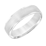 Goldman Men's 6MM Wedding Band with Brushed Half-Dome Center and Polished Edge in 14K White Gold