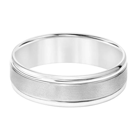 Goldman Men's 6.5MM Wedding Band with Flat Brushed Center and Polished Rounded Edges in 14K White Gold