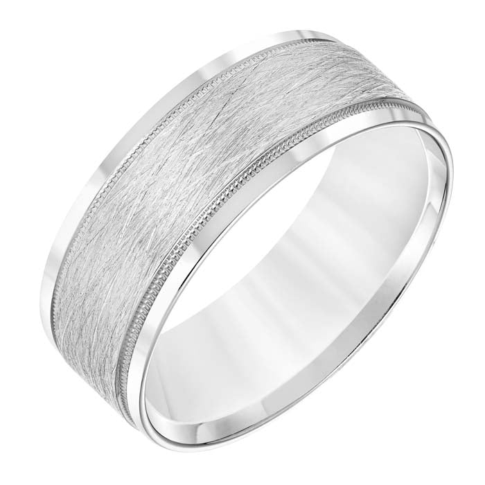 Goldman Men's 8MM Wedding Band with Wire Finish and Polished Edge in 14K White Gold