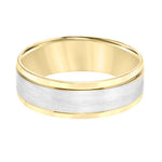 Goldman Men's 7MM Satin and Polished Finish Wedding Band in 14K White and 14K Yellow Gold
