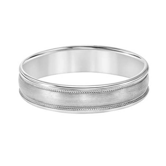 Goldman 5MM Men's Satin, Milgrain and Polished Wedding Band in Platinum