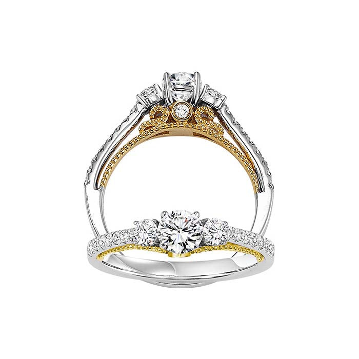 Gemsone 3 Stone Plus Engagement Ring 14K White and Yellow Gold with 1.00CTW Diamonds