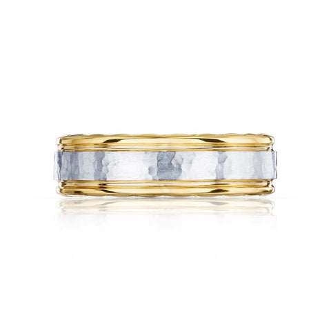 Tacori Mens Sculpted Cresent Collection 7MM 18K White and Yellow Gold Wedding Band