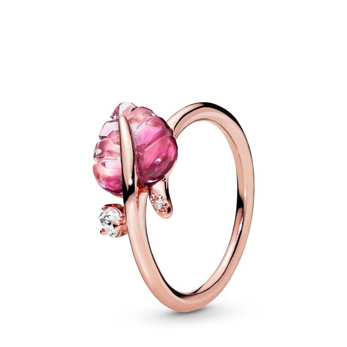 Pandora Pink Murano Glass Leaf Ring in Pandora Rose 188319PMU-54