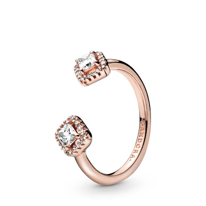 Pandora Square Sparkle Open Ring in Pandora Rose, Size 7.5 - 188506C01-56