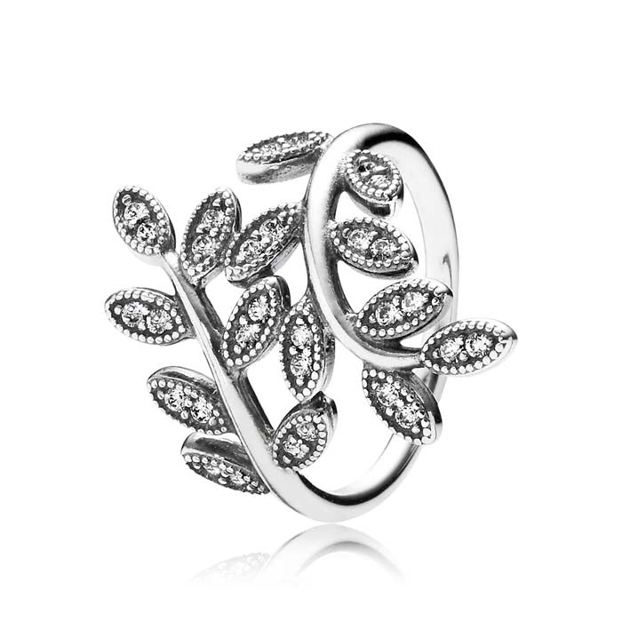Pandora 50 Sparkling Leaves Ring in Sterling Silver with 30 CZs, Ring size 5 190921CZ-50