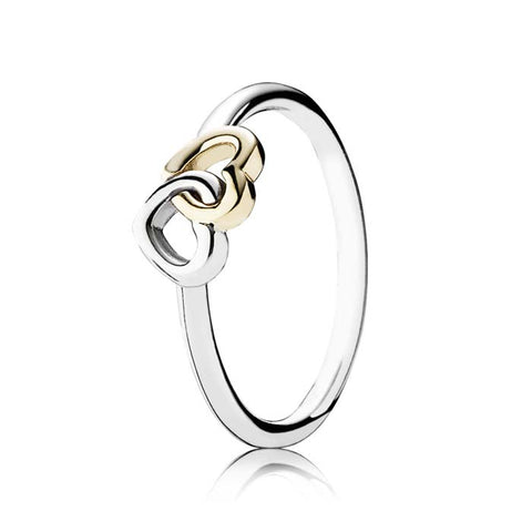 Pandora 56 Heart to Heart Ring Sterling Silver & 14K Yellow Gold Size 7.5 190927-56