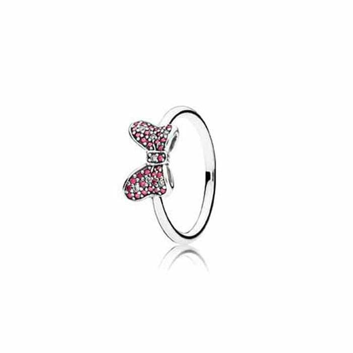 Pandora 52 Minnie's Sparkling Bow ring in Sterling Silver ring size 6, 190956CZR-52