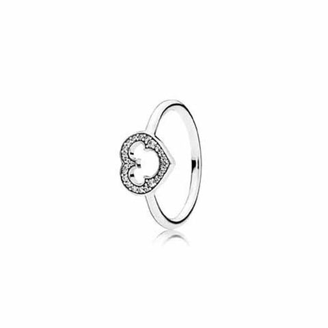 Pandora 52 Mickey Silhouette heart ring in Sterling Silver size 6, 190957CZ-52