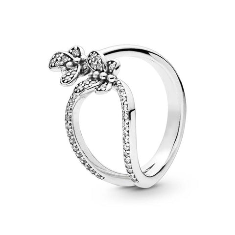 61bfbb741 Pandora Sterling Silver Bedazzling Butterflies Ring with CZ 197920CZ-52