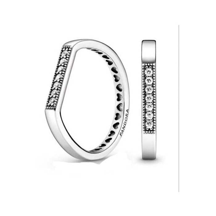 Pandora Logo Bar Ring in Sterling Silver - 199041C01-58