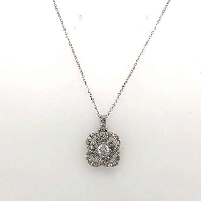 "Mountz Collection 1/2TW ""Love's Crossing"" Diamond Pendant on 18"" Light Cable Chain in 14K White Gold"
