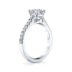 "Mountz Collection .48CTW Diamond Micro ""U"" Prong Engagement Ring Semi- Mounting 14K White Gold for 1.0CT Round Center"