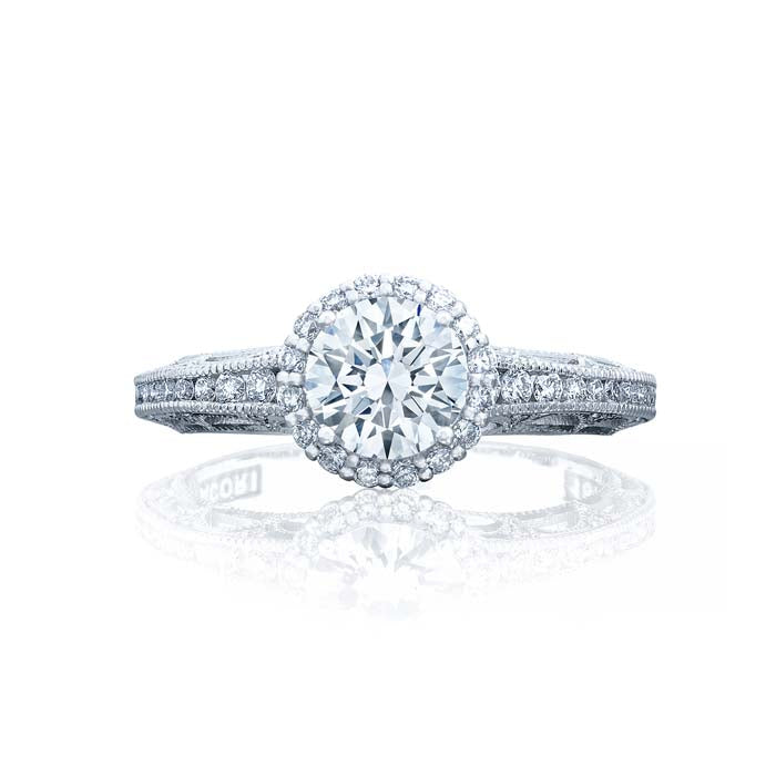Tacori Reverse Crescent Engagement Ring Semi Mount in 18K White Gold with Diamonds