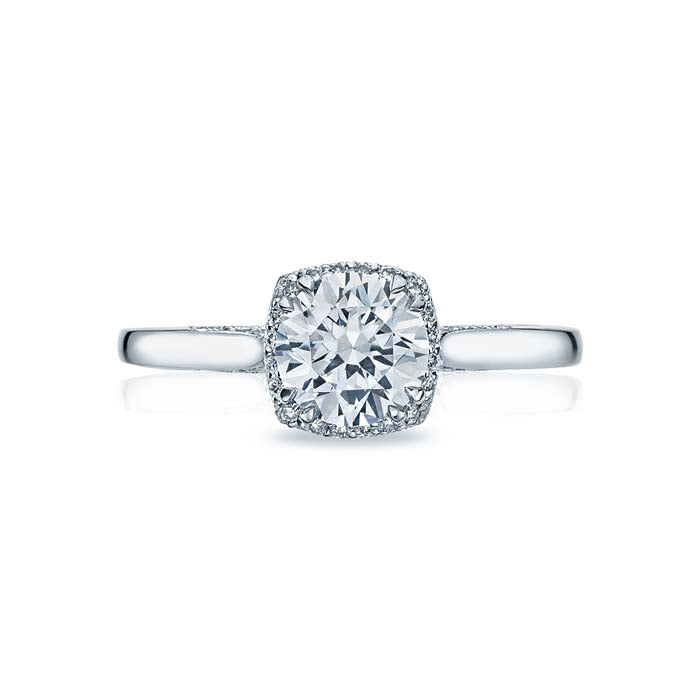 Tacori Dantela Collection Halo Engagement Ring Semi Mount 18K White Gold with Diamonds
