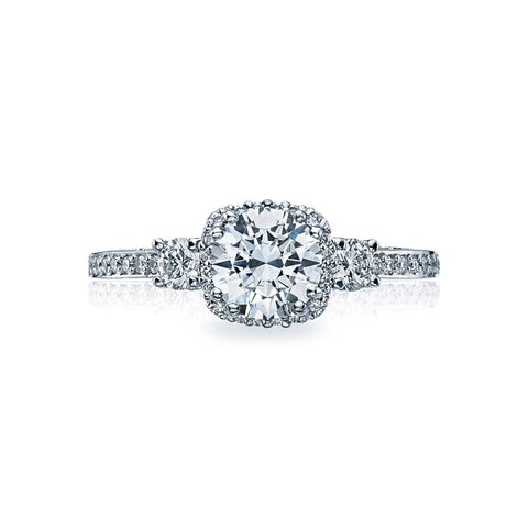 Tacori Dantela Three Stone Engagement Ring Semi Mount in 18K White Gold with Diamonds