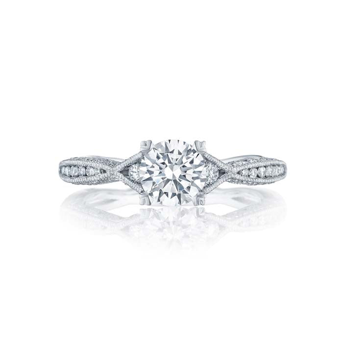 Tacori Classic Crescent Engagement Ring Semi Mount in 18K White Gold
