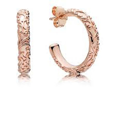 Pandora Regal Beauty Pattern Hoop Earrings in PANDORA ROSE, 287732