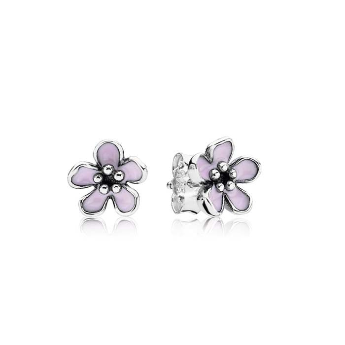 Pandora Cherry Blossom Studs in Sterling Silver with Pink Enamel 290537EN40
