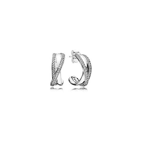 Pandora Entwined Hoop Earrings Sterling Silver 290730CZ